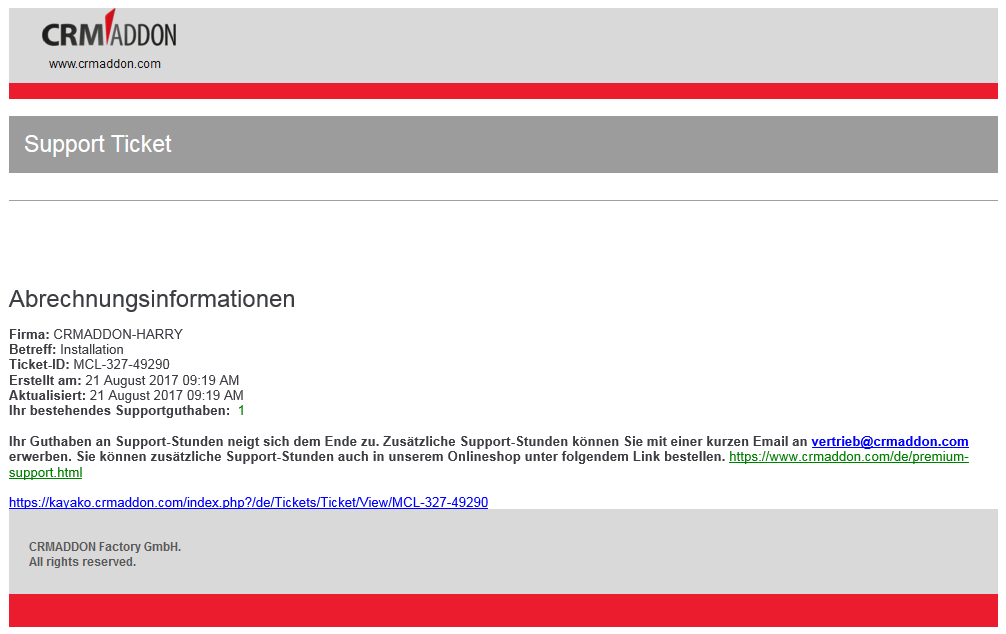 Hinweis auf Supportguthaben per Email