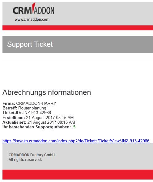 Ticketanlage und Übersicht Supportguthaben