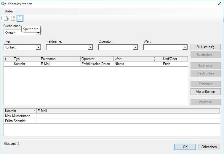 Act! Datenbankpflege: Abfragen mit Kriterien