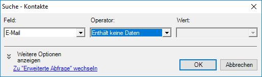 Datenbankpflege: Kontaktsuche