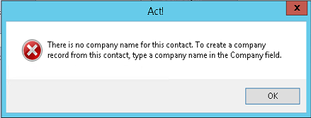 Error message when creating a company from a contact