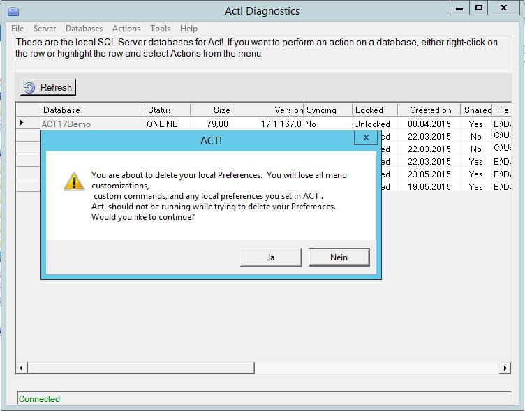AcT! Diag - Delete Preferences