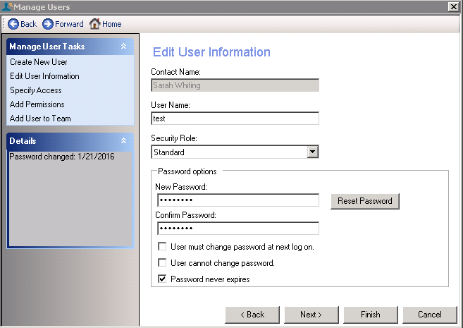 User settings visible for system administrator