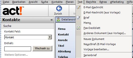 Brief E Mail Vorlagen Erstellen In Act