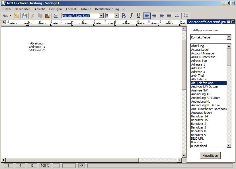Brief-\\E-Mail-Vorlagen erstellen in Act!